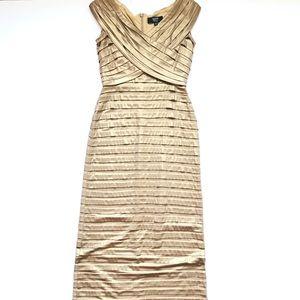 Tadashi Metallic Gold Long V-Neck Bandage Dress